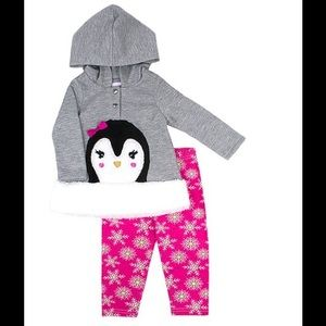 Nannette Faux Fur Penguin Hoodie & Pink Leggings